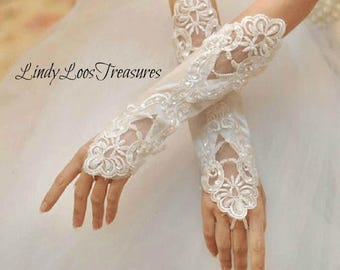 White Bridal Fingerless Satin Lace Embroidered Gloves with Pearls, Satin Fingerless Wedding Gloves, Lace Bridal Gloves, Applique Gloves