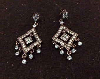 Silvertone Metal and Sky Blue Crystal Earrings