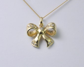 Gold and Diamond Bow Pendant by Adler
