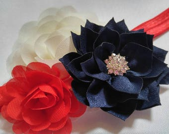 Red, white and blue, Patriotic hair bow, headband - newborn, infant, toddler
