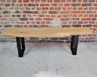 Solid oak bench & metal