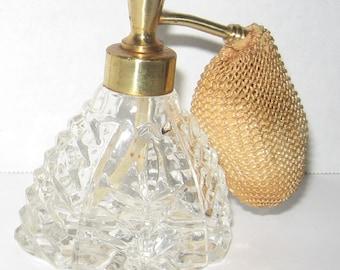 Vintage cut glass atomizer. Perfume atomizer.