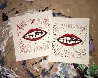"Linocut ""Hey Bud"" Print"