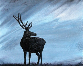 Original Oil painting of Highland Red Deer Stag, a storm brewing, with A2 mount, wall art, animal painting, Highlands art, Deer art, gift
