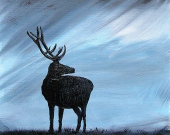 Original Oil painting of Highland Red Deer Stag with a storm brewing, supplied with A2 mount, ready for your favourite frame