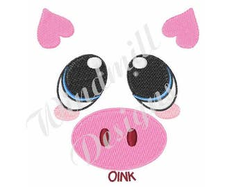 Oink Pig Face - Machine Embroidery Design