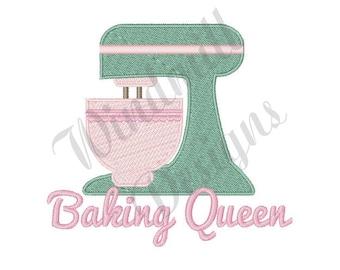 Baking Queen Stand Mixer - Machine Embroidery Design