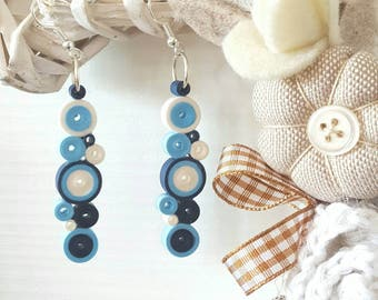 Paper quilling, hoops earrings (blue, Hazel or Brown and white blue and beige)