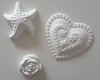 Fragrant Rose-shaped chalks, or starfish, or big heart decorated, set of 5 amount, scent black tea