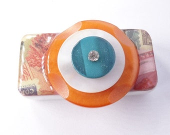 50mm*23mm Vintage Upcycled Acrylic Domino Magnet, OOAK, S4b
