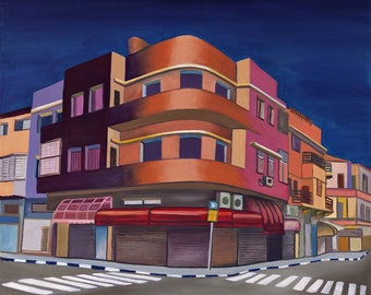 orange,blue,pink,purple,yellow,red,night,Boho,buildings, paintings,Modern art,Colorful,urban painting,Bauhaus,original painting,oil painting