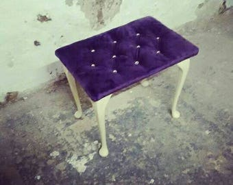 Small 70s Vintage footstool newly reupholstered in a deep purple velvet