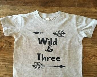 Boys Shirt Wild and Three Toddler Birthday  T-Shirt