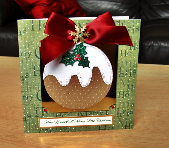 Christmas Pudding Card Handmade - luxury personalised unique quality special UK