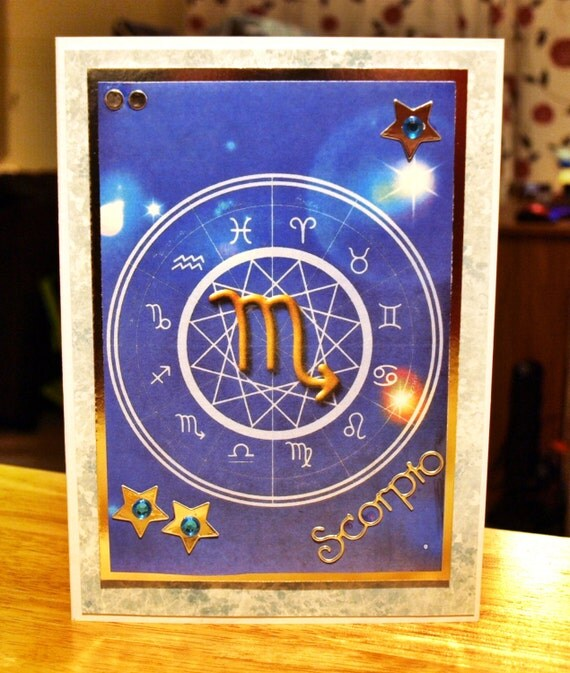 Scorpio Horoscope/Zodiac/Star Sign Handmade Birthday Card - Oct 23 to Nov 21 - luxury personalised unique quality special astrological UK