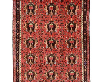 Vintage Persian Karajeh Rug - 5′3″ × 6′7″ Red, Black