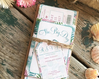 Destination Wedding Invitation : boarding pass style - Tropical Palms, Island wedding, Caribbean wedding, Mediterranean
