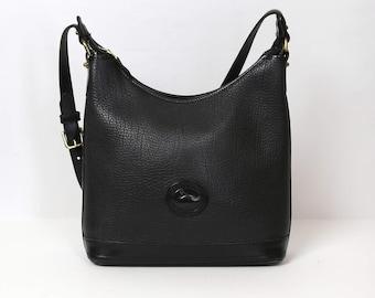 Vintage Dooney & Bourke Black All Weather Leather Hobo Shoulder Bag Handbag Purse