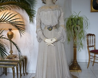 1902 HAAS Reception Gown, antique Dress, Edwardian Dress, New York, dated 1902
