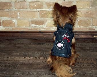 Black Denim Rocker Dog Jacket With Spikes Size XS or M