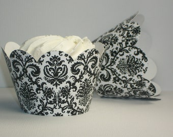 Black & White Damask Cupcake Wrappers • Birthday party decor • Baby shower parties • Weddings  (Set of 12+) Wrap your cupcakes in style!