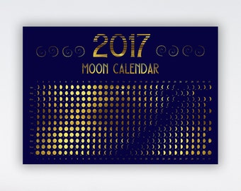 INSTANT DOWNLOAD, 65% off SALE Calendar Moon 2017 Lunar calendar 2017 Moon phase A4 Printable moon calendar Hemisphere Moon 2017 Full moon
