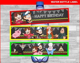 Gravity Falls water bottle labels Instant download, Gravity Falls Chalkboard water labels, Gravity Falls party water labels