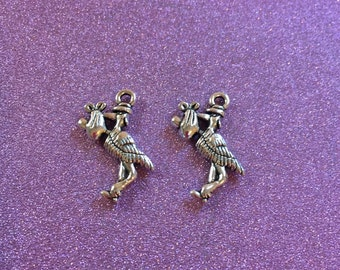 2 Silvertone Stork carrying a baby charm