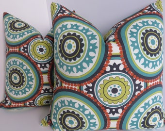 Outdoor/Indoor Pillow Covers- Turquoise Orange- Dark Grey Yellow Turquoise Pillows - Pillow Covers- Outdoor Living- Pillows- 18x18 Pillows