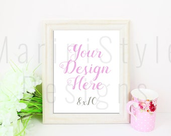 White Frame Mockup, PSD, Smart Object, PNG, 8x10, Empty Frame, Vertical Photo Frame, Styled Stock Photography, Stock Photo, Stock image, 517