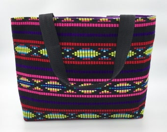 Aztec Fabric Beach Bag - Handmade Carry All Shopper, Handmade Tote Bag, Shopping Tote, Multi-coloured, LoadedBobbins