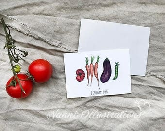Watercolor Veggies-I GROW MY OWN Postcard Set