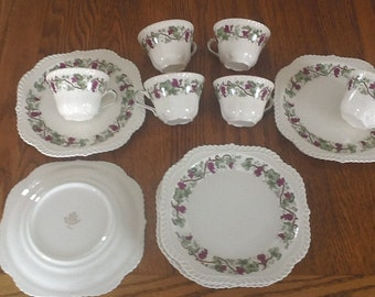 Harker - Vintage Royal Gadroon -6 salad plates and  6 cups - purple grapes & leaves