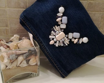 Clutch bag in jeans, handmade, purse
