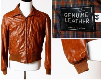 Men's Leather Bomber Jacket Vintage - 80's Medium M Retro