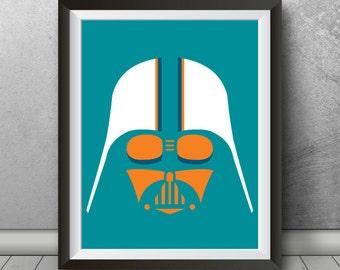 "Darth Vader ""Miami Dolphins"" Inspired Sports Art Print Parody, Movie Poster, Movie Print, Movie, Movie Art, Sports Poster, Gift"