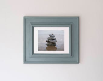 Original Pebble Cairn Photograph in Upcycled Wooden Frame Annie Sloan Duck Egg Blue