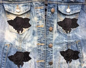 Womens Large Black Rose Demin Vest