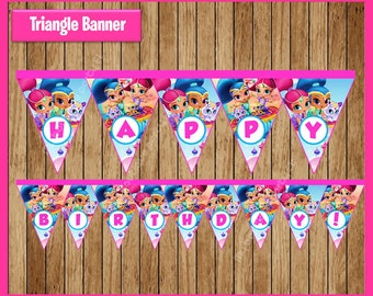 Shimmer and Shine Triangle Banner instant download, Printable Shimmer and Shine party Banner, Shimmer and Shine Banner