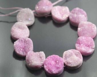 Pink Drilled Druzy Quartz Beads,Titanium Druzy Beads,Coin Beads