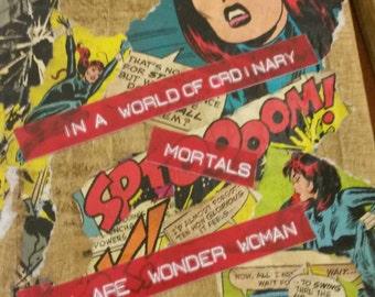 Superhero woman positive art upcycled pallet wall art mixedmedia vintage upcycle