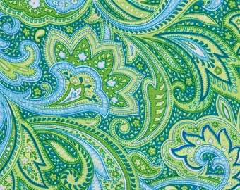 Pailsey Fabric | By the yard | silver accents | Green Blue Aqua Paisley