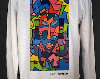 "Men's Sweatshirt Artused Design ""Molecular Tribes"" 100% Organic - Paint & Print in France -"