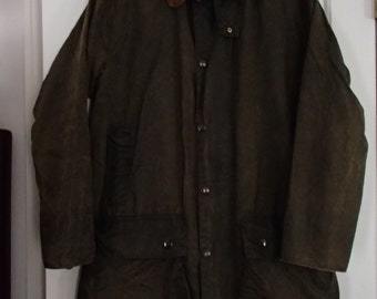 Barbour Womens Waxed Cotton Olive Green Jacket With Plaid Lining Size 38 in.