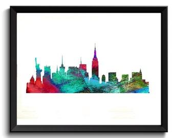 New York Watercolor Art, New York Art Print, New York Artwork, NY Art Print, Aqua/Red New York Art, NY Watercolor Art, Rainbow City Art,