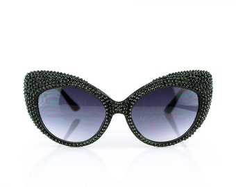 Black Studded Swarovski Crystal Fashion Cateye Rhinestone Sunglasses