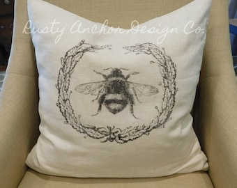Vintage Bee Throw Pillow