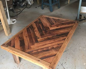 Chevron patterned reclaimed barn wood coffee table