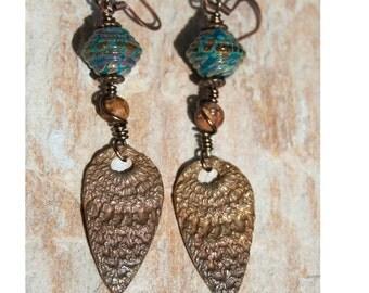 Teal with raku frit lampwork bead earrings