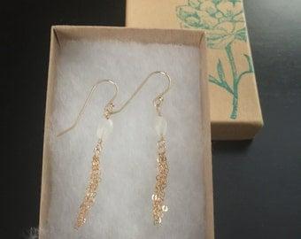 Moonstone tassel earrings/14k gold filled moonstone tassel earrings/gemstone tassel earrings